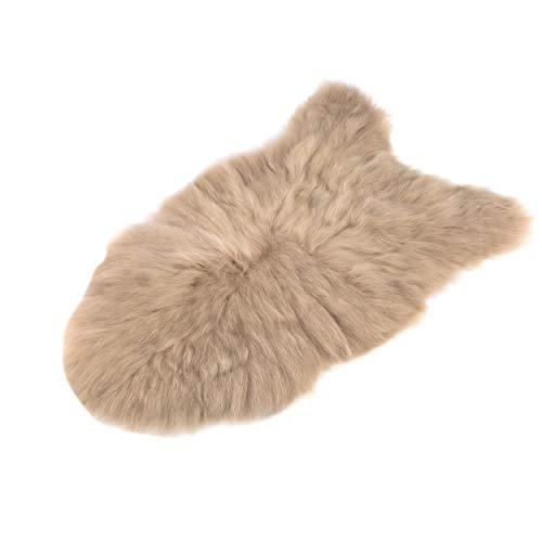 Lammfell schaffell echt Fellteppich - Dekofell Teppich langhaar beige Schafsfell Fell für Baby 110 - 115 cm