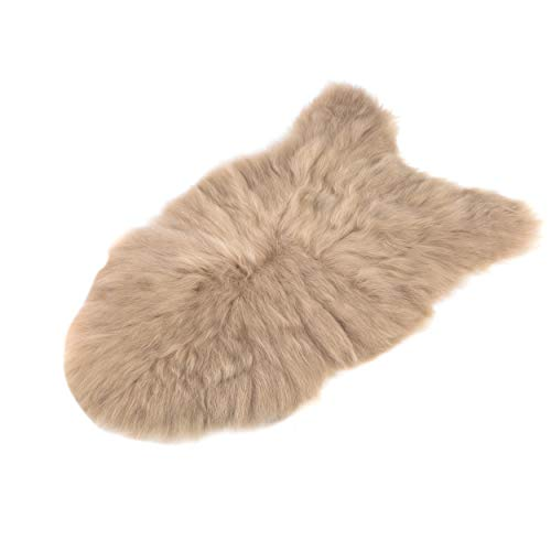 Amazinggirl Lammfell schaffell echt Fellteppich - Dekofell Teppich langhaar beige Schafsfell Fell für Baby 110-115 cm