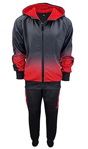 Fashion Boy Jogginganzug Trainingsanzug Freizeitanzug Jungen/Mädchen in Schwarz/Rot, Gr. 152-158, JF22.14
