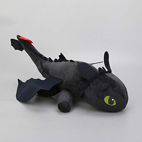 NIANMEI Dragons Toothless 35cm Cómo Entrenar a tu dragón Peluche Dragon Night Fury White Light Fury Animal de Peluche @ 40cm_Negro