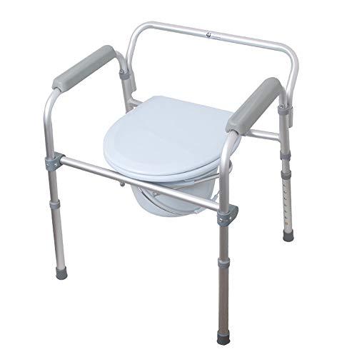 ZMXZMQ Commode stoel, opklapbaar nachtkastje Commode stoel, opklapbaar stalen nachtkastje, grijs