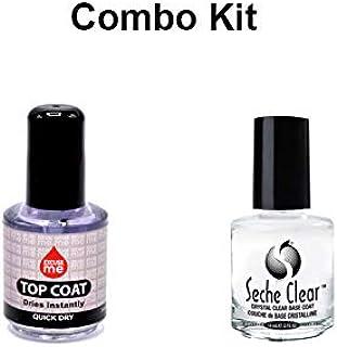Excuse Me Quick Dry Nail Polish Top Coat 0.5 oz & Seche Clear Base Coat 0.5 fl oz 15ml Combo Kit
