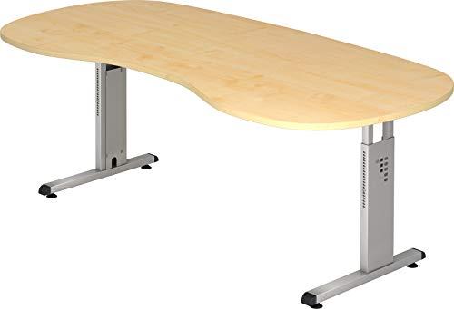 bümö® Stabiler Schreibtisch höhenverstellbar 200 x 100 cm | Bürotisch in Ahorn | Büroschreibtisch mit Höheneinstellung | Tisch in Nierenform für Büro in 9 Größen & 7 Dekoren