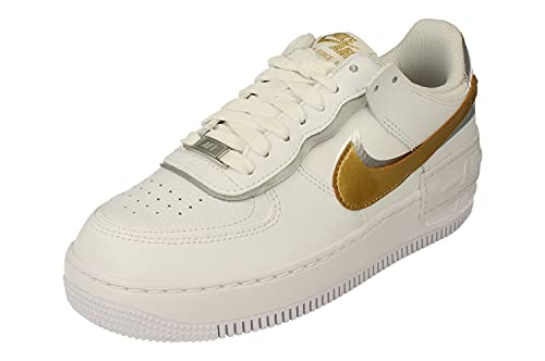 Nike Mujeres Air Force 1 Shadow Trainers DM3064 Sneakers Zapatos (UK 4.5 US 7 EU 38, White Metallic Gold 100)