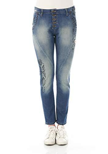 Please Damen Jeans P06I-LAV36225 - Boyfriend - Blau - Blue Denim XXS XS S M L XL 98% Baumwolle, Größe:L, Farbvariante:Blue Denim (021)