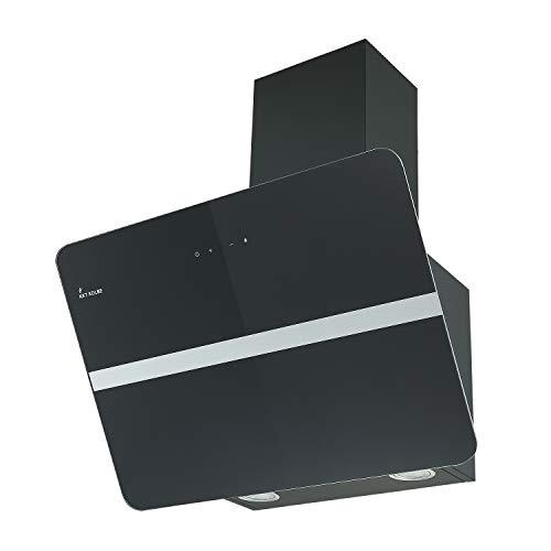 KKT KOLBE Campana extractora de pared / 80 cm/acero inoxidable/cristal negro/extra silencioso / 9 escalones/iluminación LED/teclas sensoriales TouchSelect / PLUTO8109S