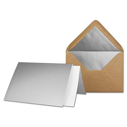 75x Silber-Metallic Faltkarten-Set - DIN A5 - mit gefütterten Kraftpapier Briefumschlägen & Einlegern - 14,8 x 21,0 cm - Einladungskarten-Set von Gustav Neuser®