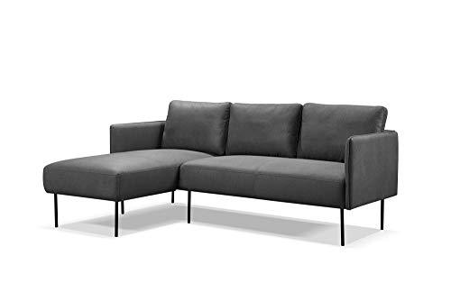 Homexperts Sofas, Mikrofaser, Dunkelgrau, 192x79x138,5cm (BxHxT)