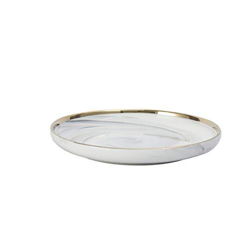 JSJJARF Vajillas Juego de vajillas de Color sólido Chapado en Oro de mármol nórdico Cerámica Plato de Cena Cerámica Cuenco Familia Vajilla Platos y Platos Conjuntos (Color : 8 Inch Plate)