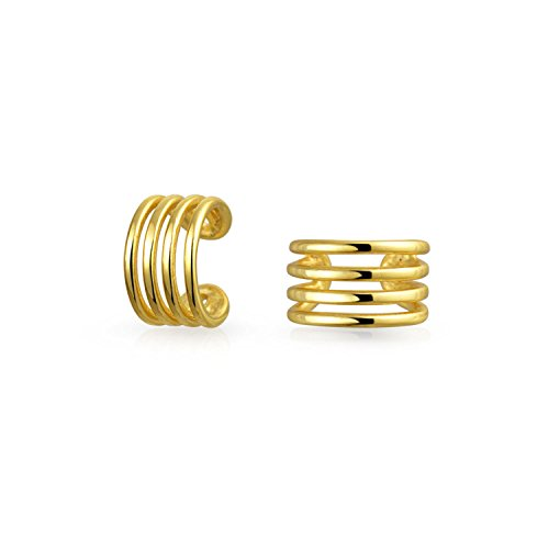 Minimalistische Geometrische 4 Split Band Knorpel Ohr Manschetten Clip Wrap Helix Ohrringe 14K Vergoldet Sterling Silber