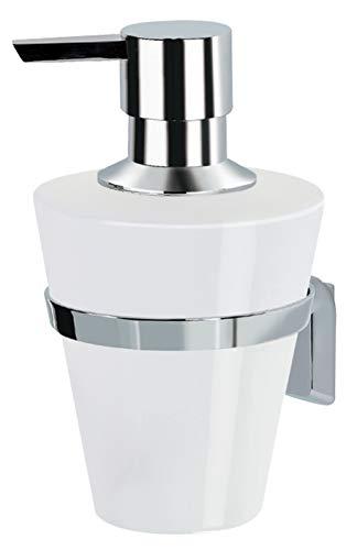 spirella Seifenspender Max Light | robuster Edelstahl und Keramik | zur Wandmontage inklusive Schrauben | auch zum Kleben geeignet - separat erhältlich