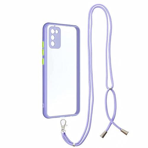 Crossbody Case voor iPhone 11, Telefoon Strap met Verstelbare Lanyard Cord Afneembare Touw, Zachte Siliconen Clear Transparant TPU Cover met Neck Cord Lanyard voor iPhone 11 paars