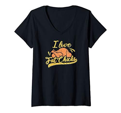 Damen I love fat chicks Grillhähnchen Grillsportverein Grillparty T-Shirt mit V-Ausschnitt