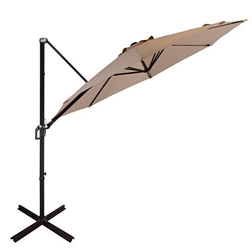 Goognice Grand Patio Offset Hanging Umbrella Large Aluminum Patio Cantilever Outdoor Umbrella with Base 360° Rotation for Garden, Backyard, Beach, Market, Pool