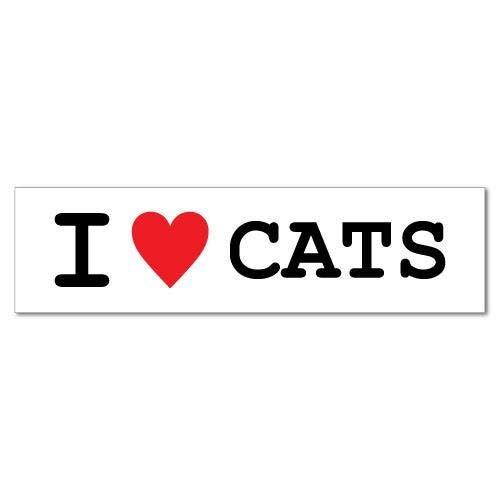 H421ld Calcomanías para coche con texto en inglés 'I Heart Cats Pets Funny Silly Bromas'