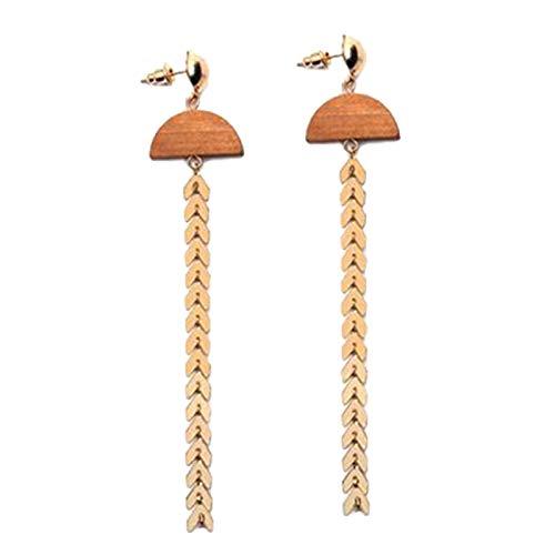 Ruby569y Pendientes colgantes para mujeres y niñas, bohemios de madera, forma de abanico de flecha, borla larga, pendientes colgantes para mujer, color dorado