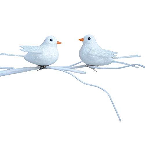 Witte Glitter 10 cm 2 Pack Clip op Vogels Kerstboom Decoratie