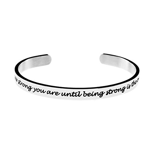 Joycuff Inspirational Brave Strong Cuff Bangle Bracelet Gift for Teen Girls Stainless Steel Jewelry
