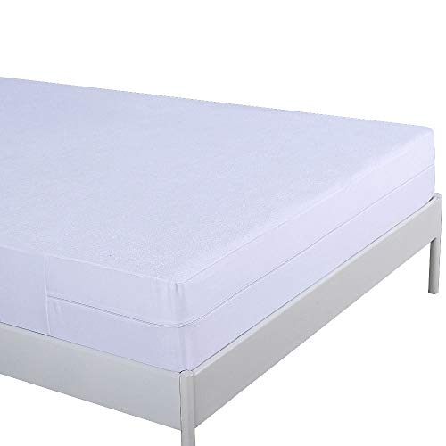 UMI. Essentials Waterproof & Anti Bed bug Mattress Protector, Total Encasement Cover With Zipper, Breathable Hyporallergenic Cotton Terry - Single(90x200+20cm)