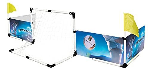 Dunlop Fußball Set - Zaun Fußballkäfig - 2x Fußballtor - Fußball und Pumpe - 426 x 235 x 36 cm