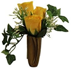 NICHE YELLOW ROSE & BABY'S BREATH IVY for NICHE and Grave-site Presentation in Remembrance of Loved Ones NO VASE