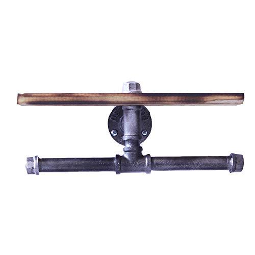 QSHHK Doppelt Toilettenpapierhalter, Wandregal DIY Industrial Iron Pipe mit Hölzernes Wandmontierte Rollenhalter für Baddekor, Jahrgang Klopapierhalter