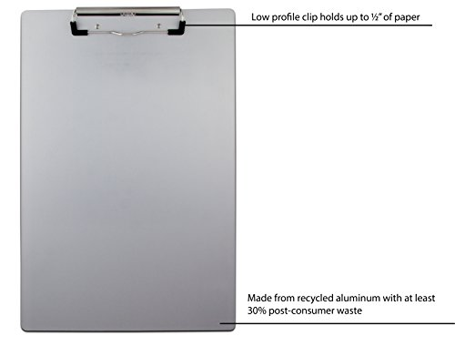 Saunders 21511 Recycled Aluminum Clipboard - Silver, Legal Size, 8.5 in. x 14 in. Document Holder with Low Profile Clip Photo #5