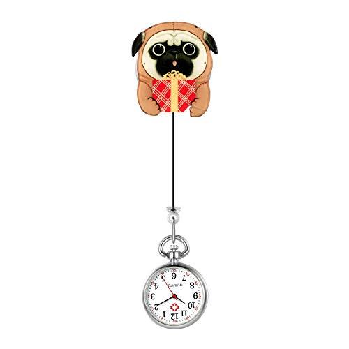 Lancardo Reloj Enfermera Linda Reloj Médico de Bolsillo con Decoración Perro Paramédico Reloj de Cuarzo para Doctor Prendedor de Broche Uso Hospital Clip de Uniforme Longitud Estirable