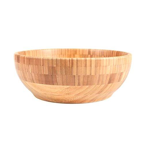 Chiloskit Wooden Bamboo Salad Bowl Set Vintage Salad Fruit Serving Bamboo Bowls For Serving Salad Pasta (Big(10'))