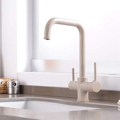 Drinken Water Keuken Kraan Zinken Puur Water Aansluiting U0026 Eenvoudige Dubbele Handvat Keukenkraan met Filter voor Puur Water 3 manieren, Chroom Beige With Dot