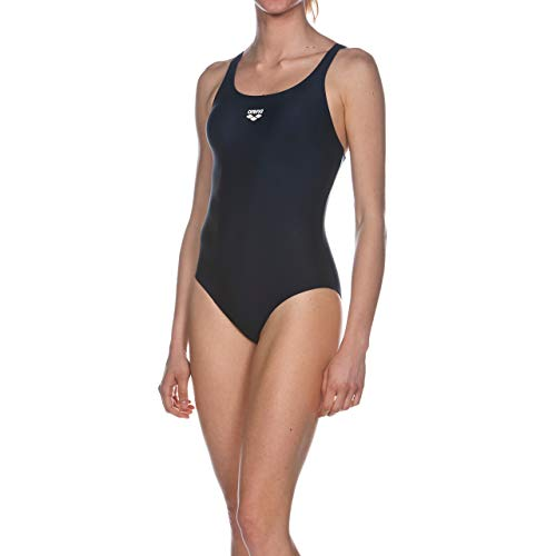 ARENA Dynamo Costume Intero Donna, Costume da Bagno Sportivo in Tessuto MaxFit ad Asciugatura Rapida Resistente a Cloro e Sale, Protezione UV UPF 50+, 44 , Blu (Navy)