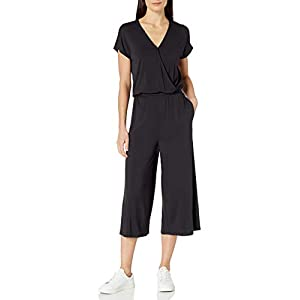 Amazon Essentials Women's Short-Sleeve Surplice Cropped Wide-Leg Jumpsuit
