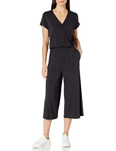 Amazon Essentials Women's Short-Sleeve Surplice Cropped Wide-Leg Jumpsuit