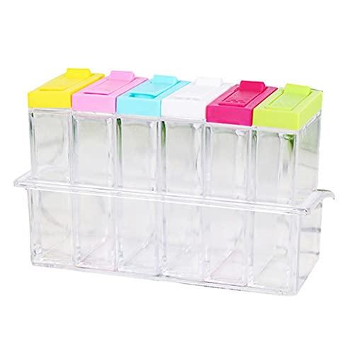 LjzlSxMF Gewürzdose Transparent 6 Grids Kunststoff Salz Zucker Lagerung Menage Lagerung Topf Camping Salzbehälter Bunte Deckel Menage-Organisator-Behälter Gewürzstreuer Box