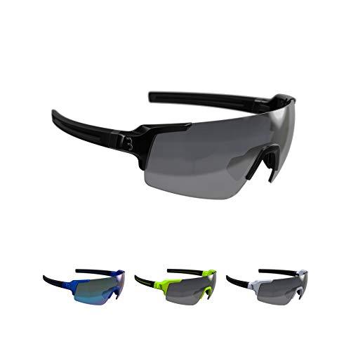 BBB Cycling Fahrradbrille FullView | Herren und Damen Sportbrille Sonnenbrille | mit drei Wechselgläsern | Polycarbonat Grilamid | MTB Rennrad Urban Radsport | Glänzend Schwarz | BSG-63
