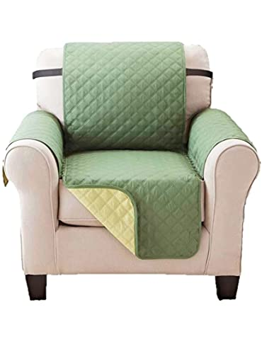 Elegant Comfort Reversible Furniture Protector Luxury Slipcover/Furniture Protector Great for Pets & Children with Straps to Prevent Slipping Off, Chair, Sage/Cream