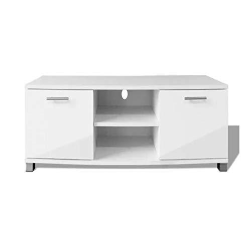Pissente Mueble TV Blanco Brillo, Mesa Baja de Salón para TV 120 x 40.3 x 34.7 cm