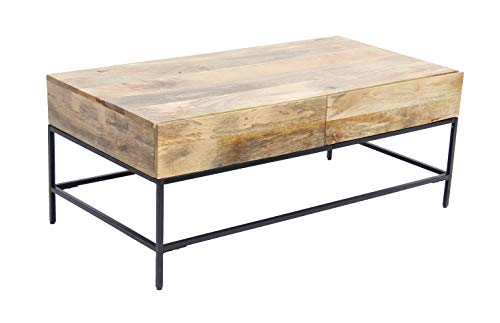 The Urban Port Mango Wood Coffee Table with 2 Drawers, Brown and Black