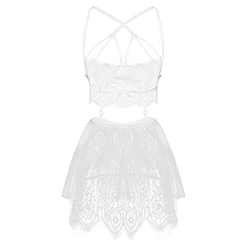 YQHWLKJ Conjunto de lencería Sexy para Mujer Vestido de camisón con Tiras de Encaje Transparente Mini con Tanga Babydoll Ropa de Dormir-Blanco, M