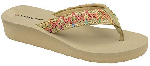 Dunlop Flip Flops teen post Slip op sandalen plat gewatteerd