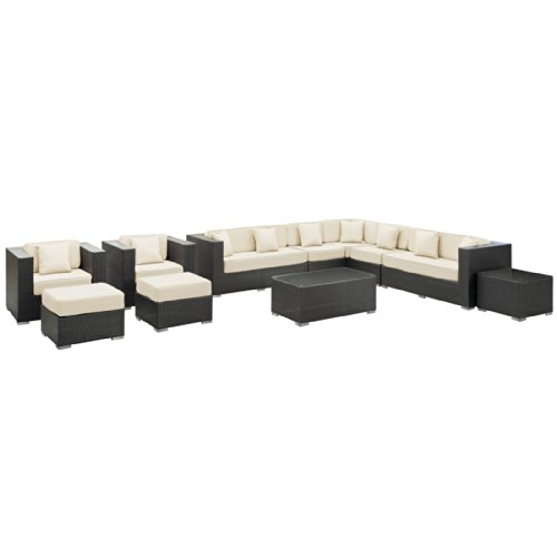 Big Sale LexMod Cohesion 11-Piece Outdoor Rattan, Espresso with White Cushions