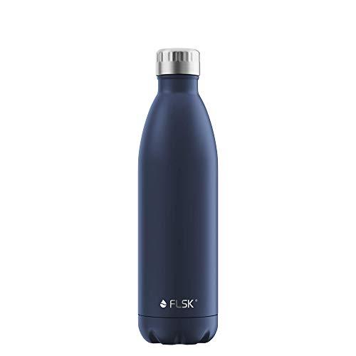 FLSK Das Original New Edition Edelstahl Trinkflasche – Kohlensäure geeignet | Die Isolierflasche hält 18 Stunden heiß und 24 Stunden kalt | ohne BPA und rostfrei, Midnight, 750ml