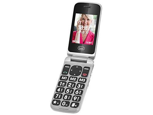 Trevi FLEX PLUS 55 Telefono Cellulare per Anziani a Conchiglia con grandi tasti, grande display LCD 2.4', Funzione SOS, Doppio Display, Bluetooth, Fotocamera, Radio FM, Grigio