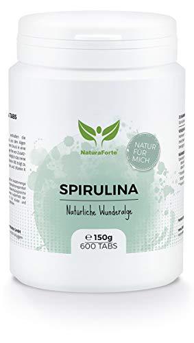 NaturaForte Compresse di Spirulina (600 capsule = 150g) - Naturale, alta dose, pura e senza additivi, Vegano e Vegetariano, Ricco di Proteine, Superfood fresco, verde - Basso contenuto di carboidrati