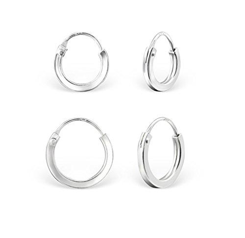DTPsilver - 2 Paare Ohrringe Damen - Klein Creolen Quadratisch - 925 Sterling Silber Klein Kugel - Dicke 2 mm - Durchmesser 10 und 12 mm