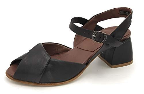 Lilimill 6949 Sandale aus schwarzem Leder, Knöchelriemen, Breite 5 cm, Unterseite Leder, Größe Schuh 40 EU Farbe Schwarz