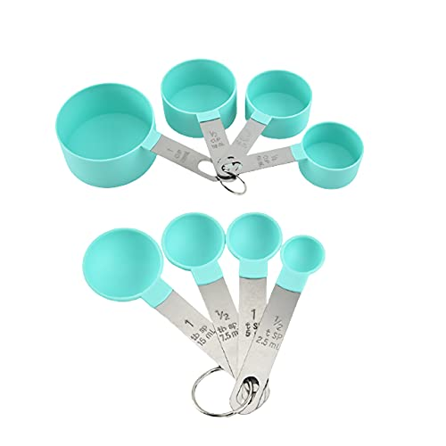 Measuring Cups and Spoons Set, 8 Pieces Measuring Cups and Measuring Spoons with Stackable Stainless Steel Handle Measure Dry or Liquid Ingredients Measuring Set for Kitchen Cooking and Baking (Green)