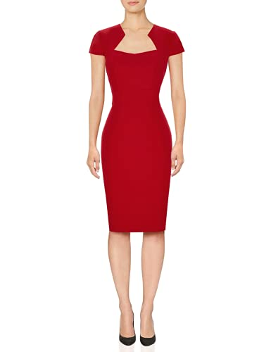 Stretch Bodycon Pencil Dress Red for Women Slim Fit Size M CL008947-2