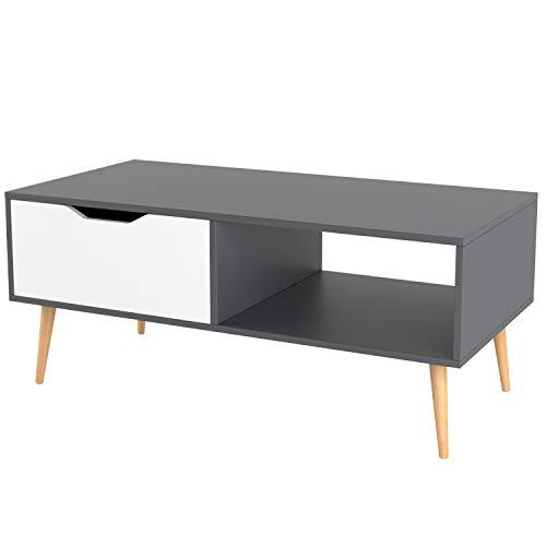 Homfa Mesa de Centro Mesa de café Mesa para TVMesa para salón con 1 Cajón movible Blanco y Roble 100x49.5x43cm