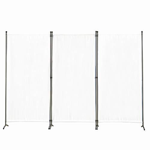 Angel Living Biombo Grande de 3 Paneles, Decoración Elegante, Separador de Ambientes Plegable, Divisor de Habitaciones, 250X170 cm (Blanco)